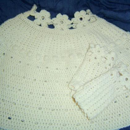 Floral Eyelet Bridal Caplet and Glo..