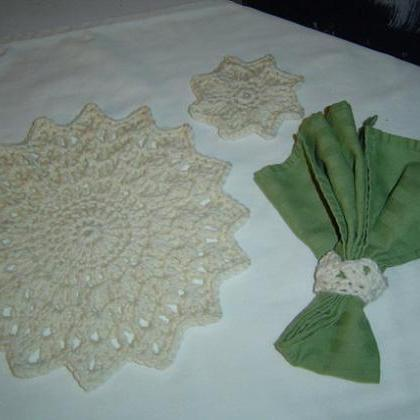 3PC Snowflake Place Mat Set