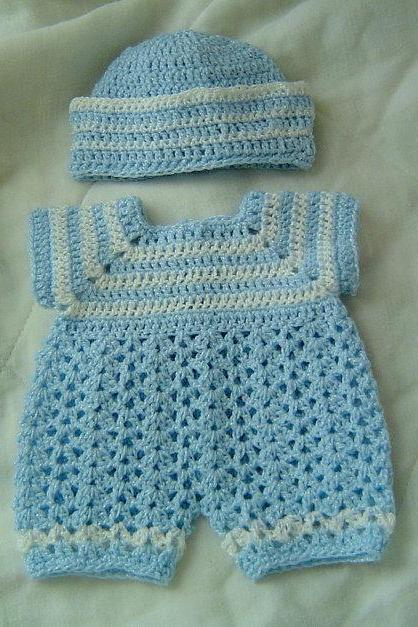 PREEMIE Baby Boys Sailor Pattern Romper Reversible Set by CarussDesignz 0029A