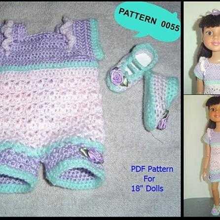 "0055 Romper Set Crochet Pattern for Slim 18"" BFC Ink, American Girl Dolls"