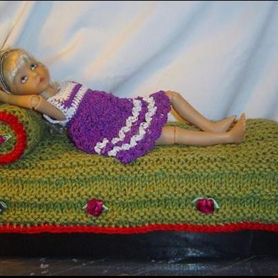 Doll Bedding 2PC Knit and Crochet Set 12 inch to 14 inch Dolls 0051