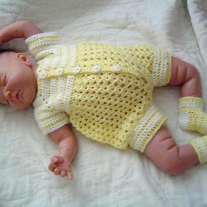 Baby Boy Crochet Pattern Bubble Romper 2PC Set 0064