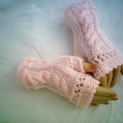 Cable Fingerless Knit Gloves by CarussDesignZ 0069